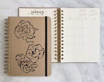 2018-2019 planner with flowers |  2018 student planner | personalized 2018 planner | kraft monthly planner | weekly planner 2018