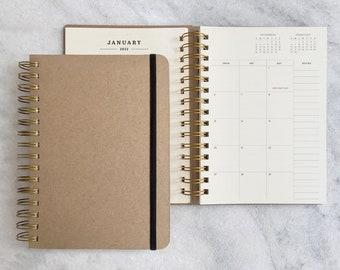 2022 planner | planner 2022 | kraft weekly planner | wire bound daily agenda |  academic planner | paper planner | Blank Hard Cover