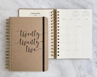 "2022 planner   12 month planner 2022   wire-bound weekly agenda 2022   weekly planner   physical planner   ""twenty"" Hard Cover"