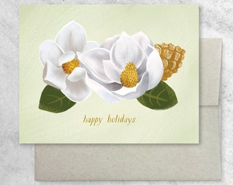 Boxed Set of 8 Magnolia and Pinecones Cards with Kraft Envelopes