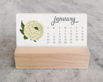 2019 Desk Calendar | Mini Desk Calendar 2019 | Monthly Calendar, stocking stuffer, Wildflower