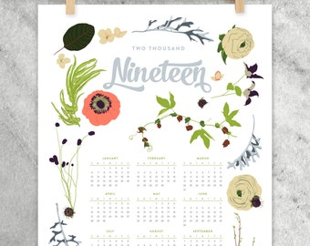 2019 Wall Calendar, 11x17 Year-at-a-Glance Calendar 2019, wildflowers, flowers, floral garland and laurels