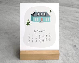2019 Desk Calendar, Village | DeskCalendar 2019 | 2019 Calendar