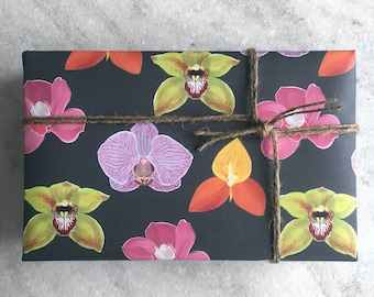 Orchid Gift Wrap, fine wrapping paper, all occasion, flat sheet paper, illustrated floral