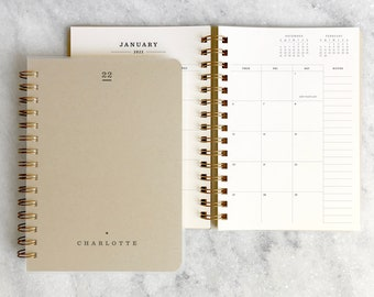 Custom 2022 planner   personalized planner 2022   weekly planner   wire bound planner    printed planner    Kraft Soft Cover