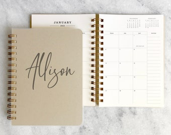 Custom 2022 planner | personalized planner 2022 | wire bound planner | weekly planner | kraft planner |  Kraft Soft Cover