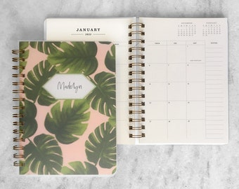 personalized planner 2022 | 2022 planner |  custom planner | weekly planner | wire bound planner |  Monstera Soft Cover