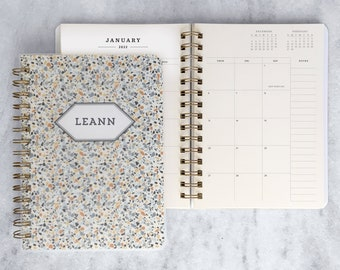 personalized 2022 planner   custom planner 2022   weekly planner   physical wire-bound planner   daily agenda    Terrazzo Soft Cover