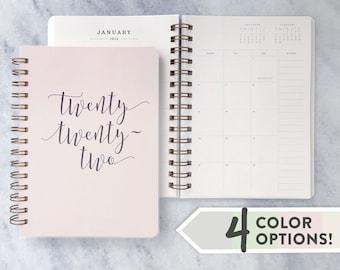 "2022 planner   planner 2022    weekly planner   daily agenda    wire-bound academic planner   Cotton Soft Cover, ""twenty twenty-two"""