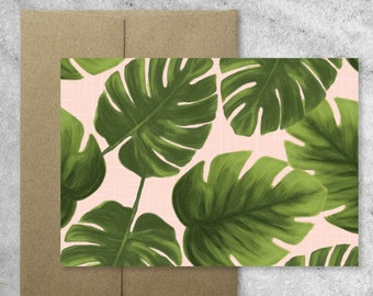 Boxed Set of 8 Monstera Leaf Cards with Kraft Envelopes, Blank Note Cards