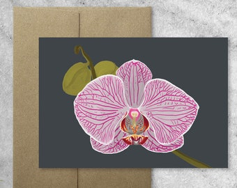 Boxed Set of 8 Orchid Cards with Kraft Envelopes, Blank Note Cards