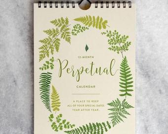 Perpetual Calendar, Fern Birthday Calendar, Wall Calendar for anniversaries & birthdays