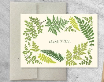 Boxed Set of 8 Fern Thank You Cards with Kraft Envelopes, Blank Note Cards