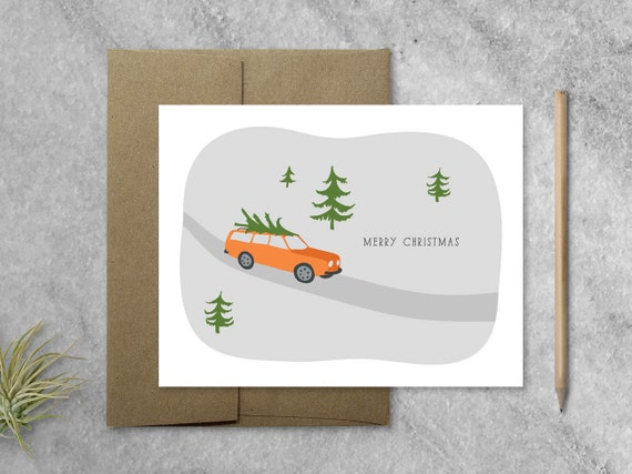 Christmas Greeting Card With Kraft Envelope Merry Christmas Etsy