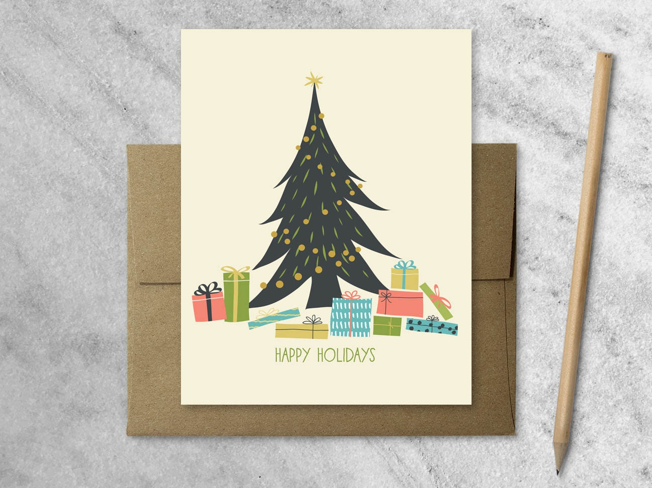 Boxed Christmas Cards with Kraft Envelopes Set of 8 Holiday | Etsy