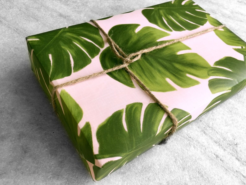Monstera Leaves Gift Wrap fine wrapping paper all occasion image 0