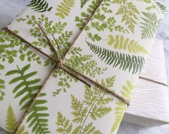 Fern Gift Wrap, fine wrapping paper, all occasion, flat sheet paper, illustrated botanicals, fern fronds