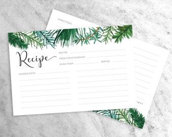 Holiday Recipe Cards, Winter Recipe Cards, Christmas