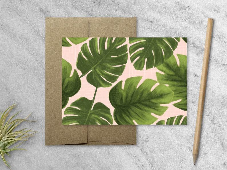 Boxed Set of 8 Monstera Leaf Cards with Kraft Envelopes Blank image 1