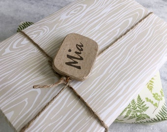 Faux Bois Gift Wrap, fine wrapping paper, all occasion, flat sheet paper, illustrated, woodgrain     Favorite Story