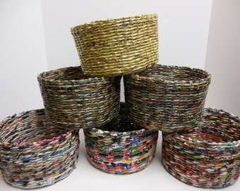 2f6f4ef55b6c3 Upcycled Paper Hand Made Planter Basket - Recycled Newspaper Magazines  Phone Books