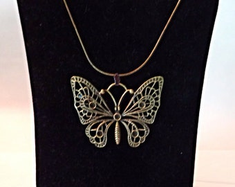 Bronze Butterfly choker necklace, 18 inches, Women's necklace, gift for her