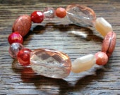 Pink and Peach beaded bracelet, anklet, stretch, size 6 inches