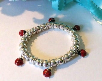 Girls Silver lady bug stretch charm bracelet, silver lady bug anklet, 6 inches, hand crafted, gift for her, girls gift