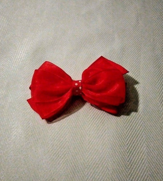Girls Red Ribbon hair bow Boutique hair bow  49ca7f60685