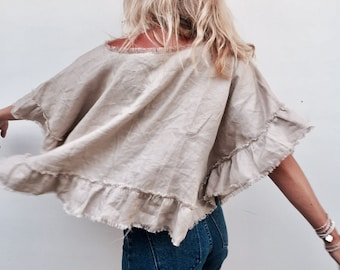 Wayan Frill Top, Natural or White Linen Crop Top with Frilled Hem, Tassel Fringe Neckline