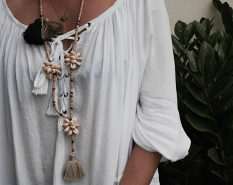 The Tropics Shell Tassel Necklace - Boho Long Wooden Beaded, Cotton Chunky Tassel, Beach Cowry Shell Necklace
