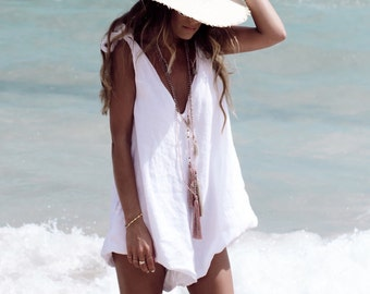 Drifter Jumpsuit, Linen Romper - Ladies Playsuit - White Beach Jumpsuit, V Neck