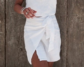 0618a8911e Wrap Dress White Linen Wrap around Dress Beach Dress | Etsy