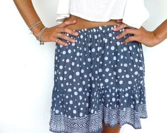 a71eeafddb Frill Sunflower Skirt - Short Skirt with Drop Hem in Navy Polka Dot