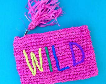 WILD Hot Pink Raffia Clutch, Tassel Clutch, Hand Stitched , Personalised Monogram Clutch with Initials, Name, Pouch & Coin Purse