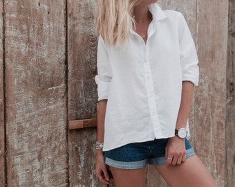 051b2af3dcc White Linen Lizzie Button Up Collared Top - Loose Fitting Shirt - White  Linen Blouse