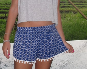 Pom Pom Shorts - Electric Blue and White Ladder Print with Large White Pom Pom's