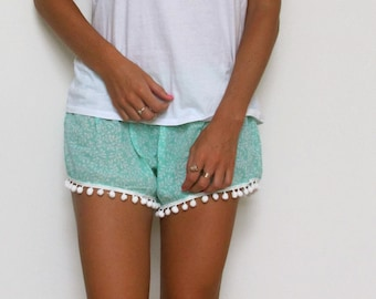 Pom Pom Shorts - Mint Green and White Leaf Pattern - Gym/Beach Shorts