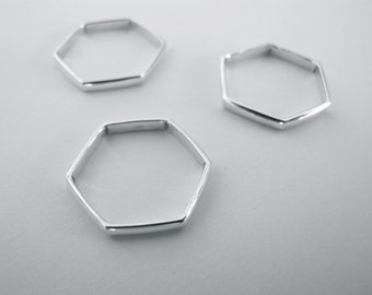 Hexagon Sterling Silver Ring Stack- Hexagon Shape Ring, Stack of Three Rings