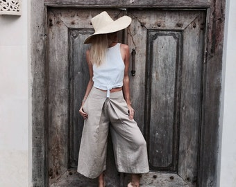 Linen Culotte Pants, The Milan Pants by LJCDESIGNS, Natural Linen Wide Leg Palazzo Pant / Trousers / Capri