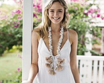 Tribal Shell Necklace - Statement Jewellery with Sea Shells and Cotton Tassels