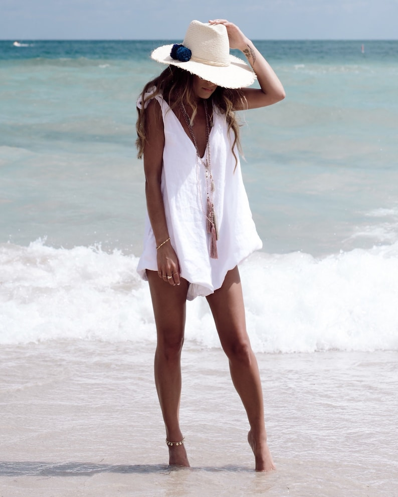 053b69fafbe Drifter Jumpsuit Linen Romper Ladies Playsuit White Beach