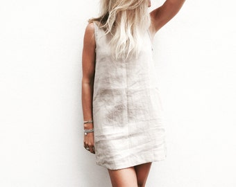 Linen Bondi Dress, Linen Dress - Short Ladies Black, White or Blue Beach Dress