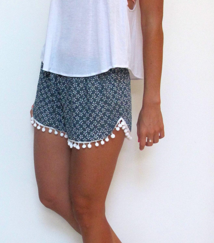 Pom Pom Shorts - Navy and White Daisy Print with Large White Pom Pom's