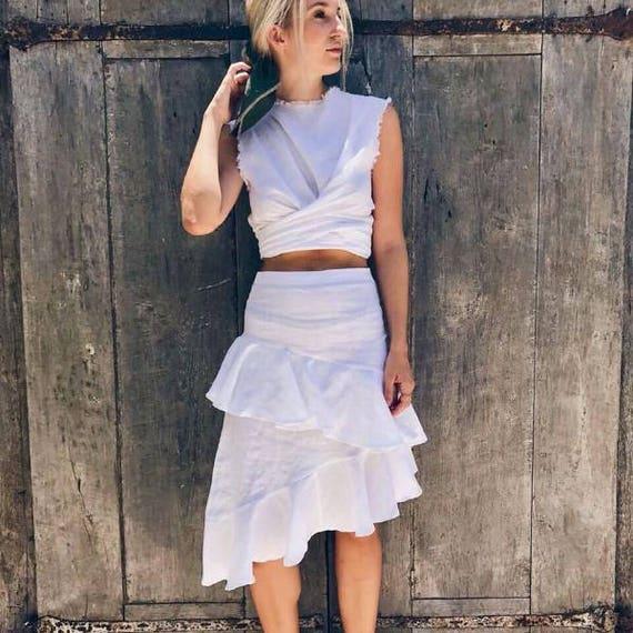 5466ba05a3 Calypso Skirt Women's Luxury Linen 3/4 Length Frill | Etsy