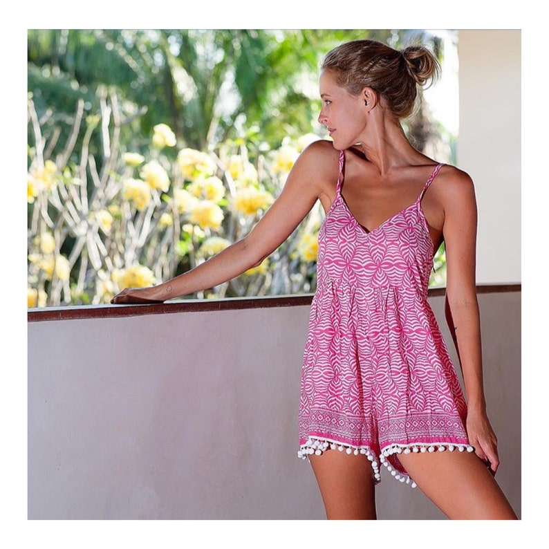 93e615e986 Pom Pom Jumpsuit   Playsuit Short Beach Dress Pink   White