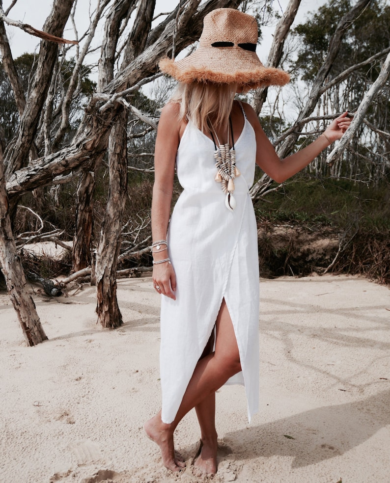 5865d58e486 Wrap Dress White Linen Wrap around Dress Beach Dress