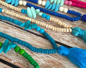 Bullet Beaded Tassel Necklace with Chunky bright Tassels - Ladies Statement Jewelry