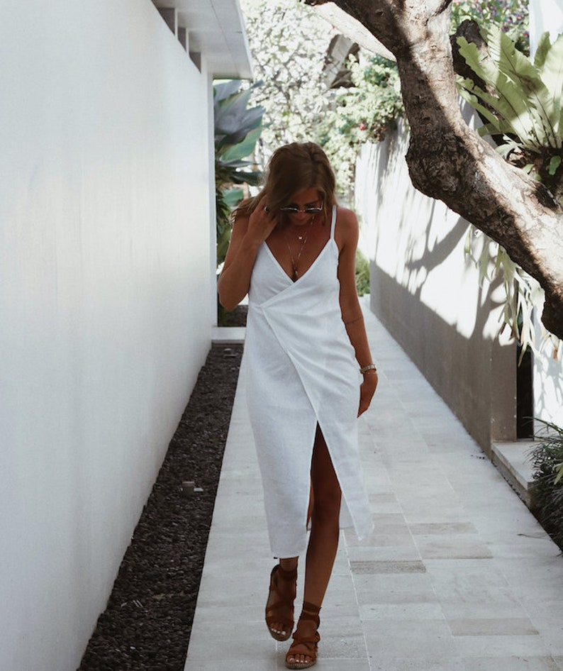 Ladies Fashion White Linen Wrap around Dress Beach Dress Wrap Dress