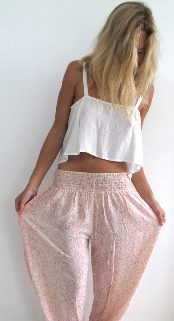Pantalon Long tendance plage Mini feuille rose pâle et blanc   Etsy 12eb4870bd5